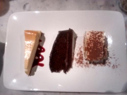 cheesecake, chocolate fudge cake and banoffee pie